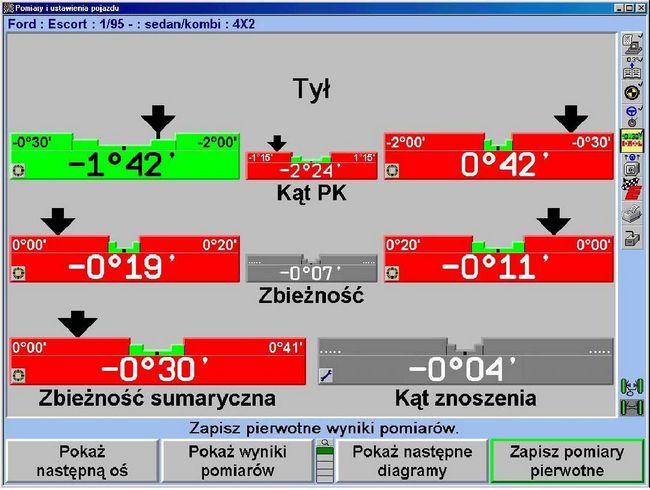 Diagram przedstawiający w systemach Hunter wyniki komputerowych pomiarów zbieżności i kąta pochylenia kół tylnych