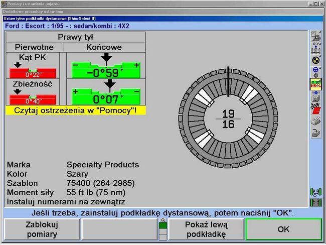 Ekran z widokiem komputerowo dobranej podkładki zawieszenia tylnego. Wydruk tego obrazu służy jako szablon montażowy