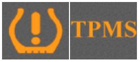Ikony na tablicy rozdzielczej informujące, że pojazd jest wyposażony wsystem TPMS
