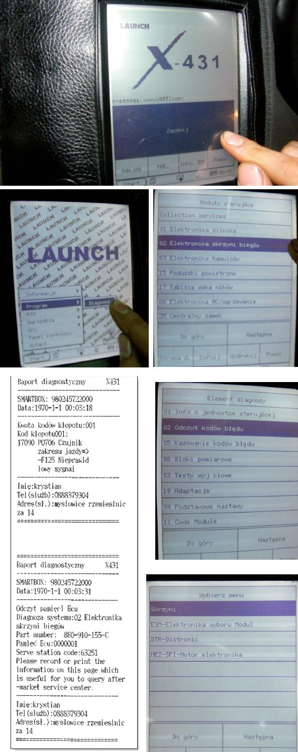 Poszczególne etapy diagnozy automatycznej skrzyni biegów za pomocą testera X-431; po prawej: wydruk protokołu diagnostycznego
