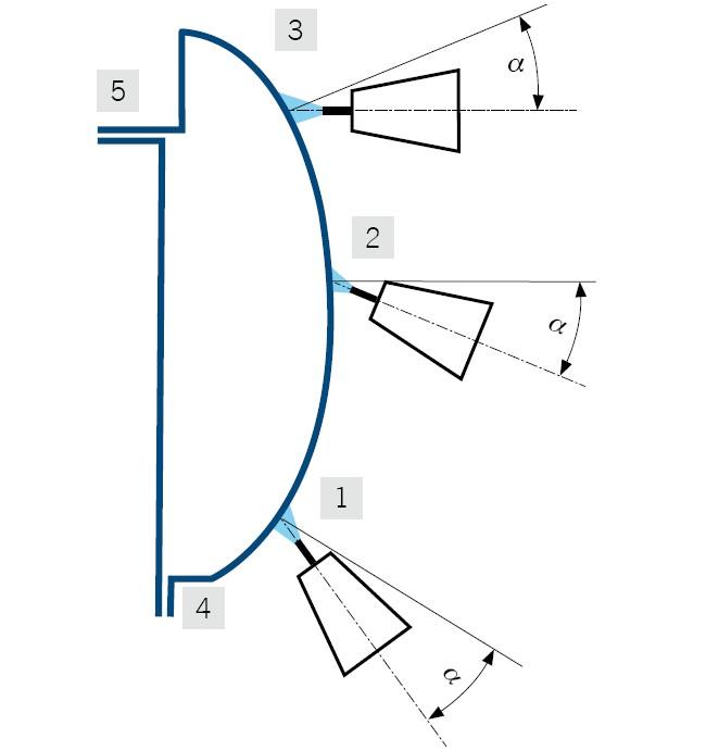 Poprzeczne łączenie blach progu metodą lutospawania z zaznaczonym stałym kątem pochylenia elektrody i kolejnością wykonywania odcinków spoiny