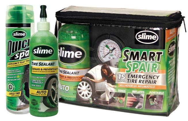 łatwe wużyciu awaryjne koło zapasowe: preparat Slime na bazie mieszanki włókien, Slime Quick Spair (naprawia przebicia ipompuje bez konieczności zdejmowania koła) oraz zestaw naprawczy zawierający pojemnik zuszczelniaczem ikompresor 12 V